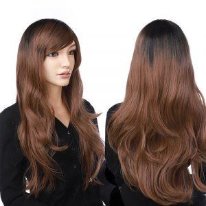 23ich long wavy layer women hair wig